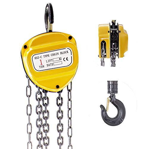 Mophorn Polipasto de Cadena Manual 2200 lb/1ton 3m Polea Elevación de Cabresante Amarillo...