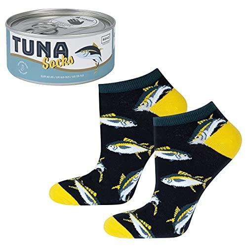 soxo lustige Herren Socken Baumwolle Bunte Witzige Gemusterte Thunfisch Socken 40-45 EU/Gift box Verpackung Konservendose/Geschenkidee/Socken mit Essensmotiv