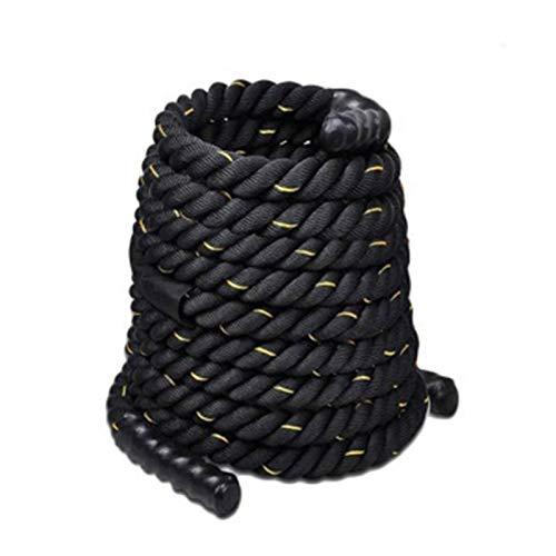 NENGGE Trainingsseil Battle Rope Fitnessseil für Zuhause Sportseil Schlagseil 100% Poly Dacron 9/12/15 Meter Durchmesser 38mm/50mm, für Crossfit Krafttraining Cardio Training,Black Yellow,50MM*9M