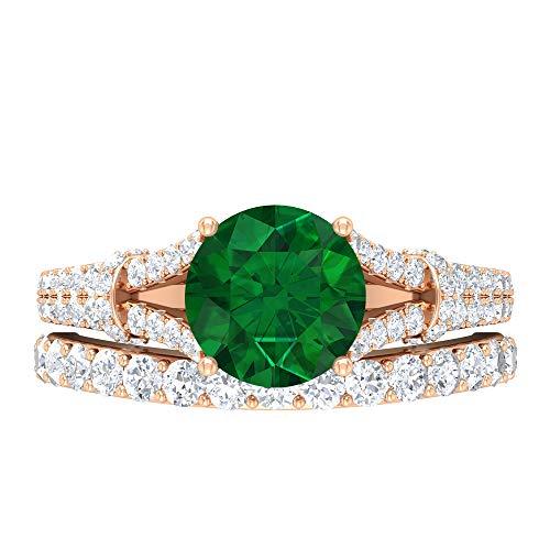 Conjunto de anillos de novia solitario, 3,02 quilates, piedras preciosas redondas, D-VSSI Moissanite 8 mm creado en laboratorio, anillo de compromiso de esmeralda, 14K Oro rosa, Size:EU 64