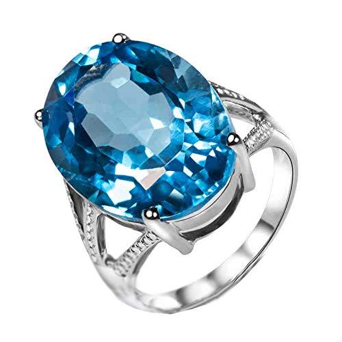 Socoz Mujer Unisex oro blanco 18 quilates (750) ovalada Blue Topaz