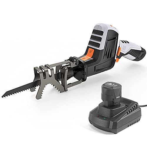 12V MAX Reciprocating Saw with Clamping Jaw, One-Handed, Cordless Reciprocating Saw kit, Battery Indicator, Step-less Variable Speed, 1.5A Lithium-Ion Battery, 1 Hour Fast Charger - RES001