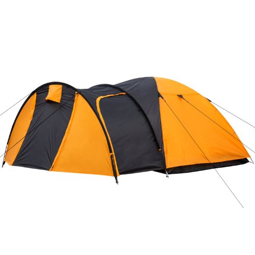CampFeuer - Igloo/Dome-Tent with Porch for 3-4 Persons, Orange/Black