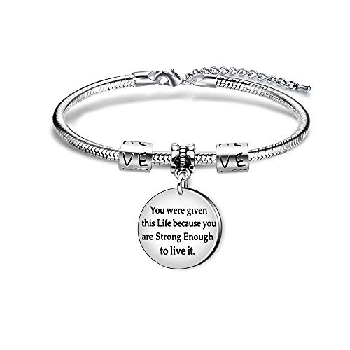 Inspirational Bangle Bracelet Gift Expandable You Were Given This Life Because You Are Strong Enough (Beacelet)
