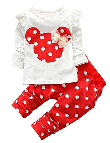 Cute Toddler Baby Girls Clothes Set Long Sleeve T-Shirt and Pants Kids 2pcs Outfits(White+Red,3T)