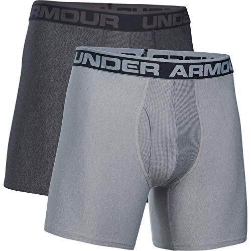 Under Armour Men's Original Series 6-inch Boxerjock Boxer Briefs-2 Pack, Carbon Heather (092)/True Gray Heather, Large