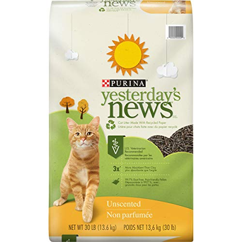 PURINA Yesterday's News Non Clumping Paper Cat Litter, Unscented Low Tracking Cat Litter - 30 lb. Box (00047557168135)