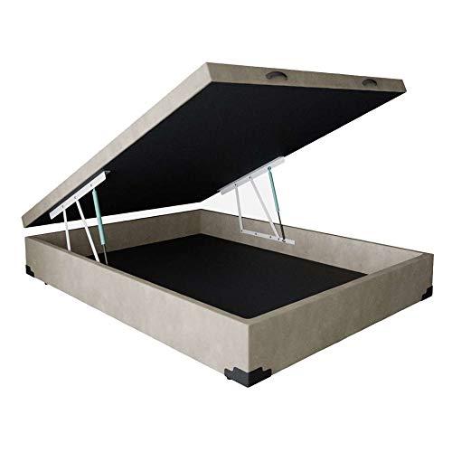 Base para Cama Box Casal Martin Premium com Baú Suede (45x138x188) Bege