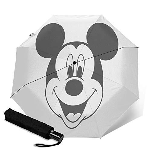 Paraguas Anti-Ultravioleta Compacto De Viaje Triple De Apertura/Cierre Automático, Sombrilla Plegable A Prueba De Viento para Exteriores, Cabeza de Mickey Mouse de Disney