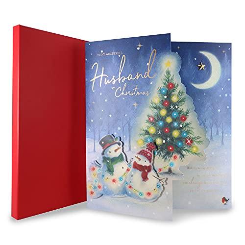 Clintons: Tarjeta de Navidad para marido Mr & Mrs Claus On Scooter en caja