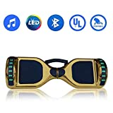 Hoverboard Self Balancing Electric Scooter UL2272 Certified-6.5' Light Up Wheels- Bluetooth Speaker with LED-Lights Self Balance Hover board with Carrying Handle (CH-Gold (with Handle))