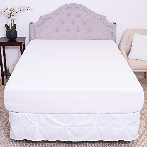 Premium Waterproof Mattress Protector – Soft Cotton Bed Guard with Membrane Back Coating Hypoallergenic Mattress Cover Protects Against Bedwetting, Dust Mites, Allergens, Queen	, White