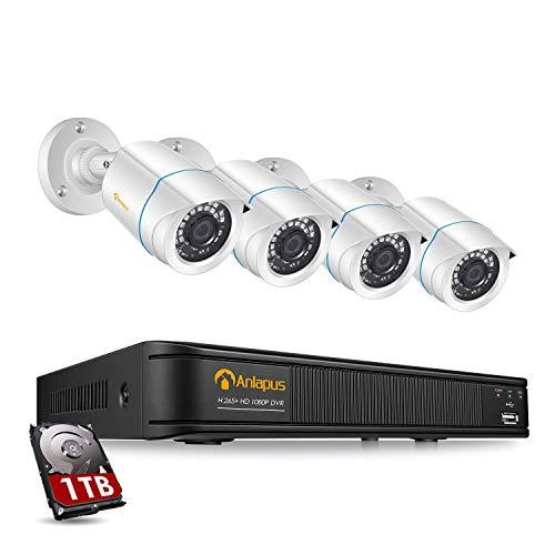 Anlapus 1080P HD Außen Video Überwachungssystem mit 1TB Festplatte 8CH 1080P H.265+ DVR mit 4 2MP Kamera für Haus Sicherheit, App/E-Mail-Alarm bei Bewegung