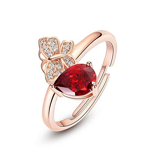 DJMJHG Anillo de Plata 925 para Mujer, joyería Fina con Piedras Preciosas, Color Oro Rosa, Accesorio de rubí en Forma de Gota de Agua, Mariposa