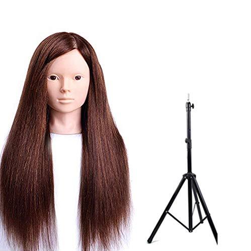 Coiffer Coiffure Femme Mannequin 80% Vrais Cheveux + Support + Accessoires Tête De Mannequin Femme Formation Beauté Maquillage Étudiant,Brownb