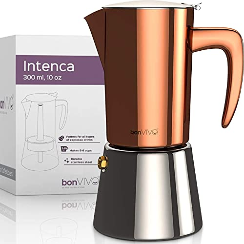 Moka Pot - Intenca Espresso Maker w/ Stainless Steel, Copper Finish - Hob & Stove Top Coffee Maker - Italian Percolator for 6 Cups of Espresso