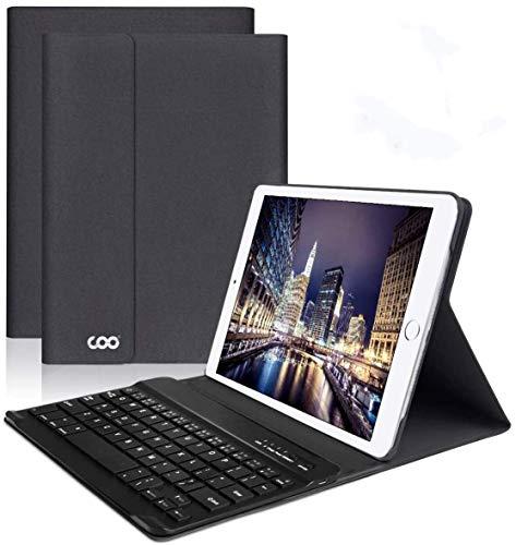 iPad Keyboard Case 9.7 for New iPad 2018 (6th Gen) - iPad Pro 2017 (5th Gen) - iPad Air 2 1 - COO Detachable Wireless Bluetooth Keyboard - Magnetic Auto Sleep Wake (Black with Black Keyboard).