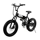 Swagtron EB-8 Outlaw Fat Tire Electric Bike – Foldable Off-Road Fat eBike 20-inch Wheels with Power Assist, Freehub and Shimano 7-Speed Gear Shifts, Black, Large