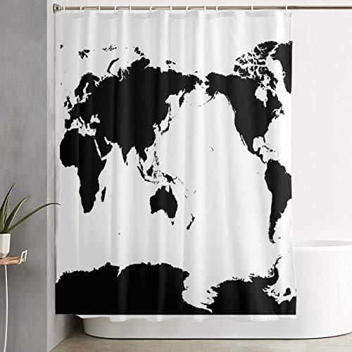 KGSPK Duschvorhang,Center Australia und Pacific Ocean Centered Weltkarte High Detail Black Silhouette auf Japan,wasserdichter Badvorhang mit 12 Haken Duschvorhangringen 180x180cm