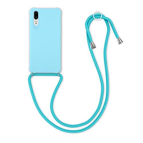kwmobile Carcasa Colgante Compatible con Huawei P20 - Funda con Cuerda de TPU Mate en Azul Claro