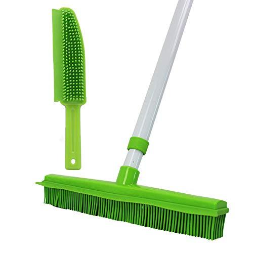 GLOYY - Scopa con manico lungo con setole in gomma morbida, per peli di animali domestici, gatti, cani, perfetti per la pulizia di pavimenti in vinile