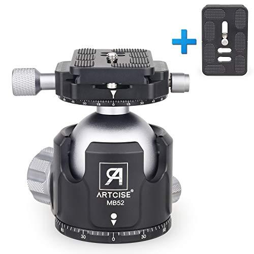 """Testa a Sfera per Treppiede Basso Profilo, ARTCISE MB52 CNC Doppia Panoramica Supporto Fotocamera Diametro 52MM con 2 1/4"""" Piastre Sgancio Rapido per Treppiede, DSLR, Videocamere, Portata di 66lb/30kg"""