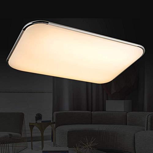 SZYSD Panel LED de 90 W, lámpara de techo para dormitorio, salón, regulable, lámpara de pasillo + mando a distancia (plata de 90 W regulable)