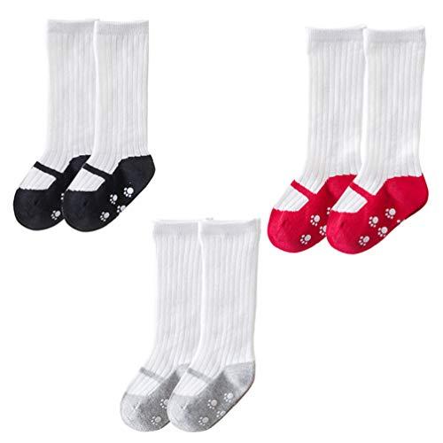 Holibanna 3 Pares de Calcetines de Bebé Mary Jane Calcetines de Algodón para Niñas hasta La Rodilla con Estampado de Medias Antideslizantes para Niños Pequeños para Regalos de Baby Shower