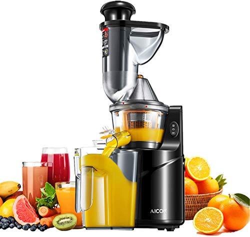 Estrattore di Succo a Freddo, Aicok Estrattore Frutta Verdura Slow Juicer, Bocca larga 75mm Estrattore completo, Alto Valore Nutrizionale, Adatto per Succhi di Frutta e Verdura