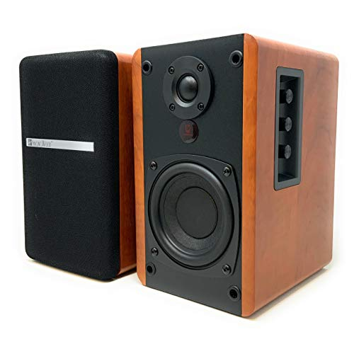 SINGING WOOD BT25 Active Bluetooth Bookshelf Speakers with Built-in Amplifier- Studio Monitor Speaker -2 AUX Input - Full Function Remote Control - Wooden Enclosure - 50 Watts RMS (Cherry Wood)