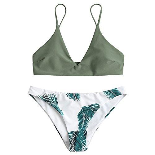 ZAFUL Damen Bikini Sets, Push-Up Spaghettiträger Bikini Obertiel Hoher Bund Pflanzenmuster Badehose Sommer,Grün-b,M