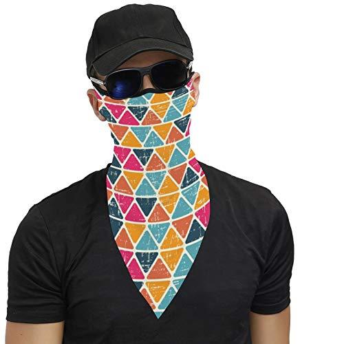 DKE&YMQ Bandana unisex máscara facial multifuncional con bucles para las orejas, bufanda, pasamontañas, sombrero para mujeres, hombres, colorido, amarillo, naranja, pendiente, triángulo verde azulado