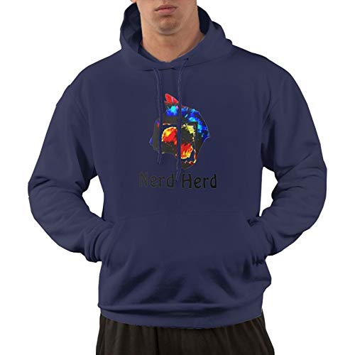Boys & Girls Nerd Herd Men's Long Sleeve Hoodie Casual Pullover Hoodie Sweatshirt with Pockets