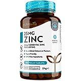 Comprimidos de zinc de 25 mg–365 comprimidos veganos (suministro para 1 año)-para el mantenimiento propicio de un sistema inmunitario, huesos, cabello, piel y uñas–fabricado por Nutravita