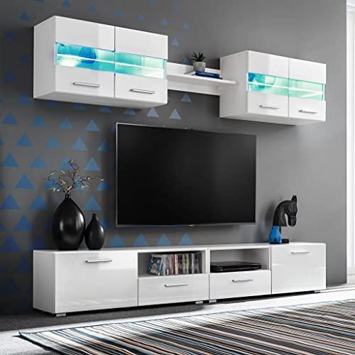Ksodgun Mueble de salón de TV con Luces LED Mesita de Sofá Mesa para Dormitorio Blanco Brillante 5 Piezas