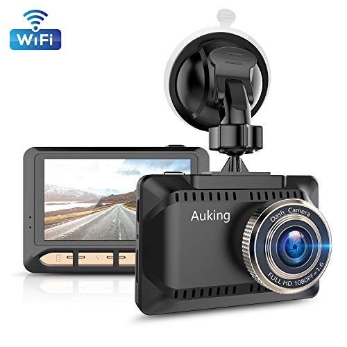 AuKing WiFi Dash Cam 1080P Full HD Dash Camera for Cars 2.45 Inch IPS Screen Car Camera Driving Recorder with Phone APP, G-Sensor, 170° Wide Angle, WDR, Loop Recording, Night Vision, Parking Monitor