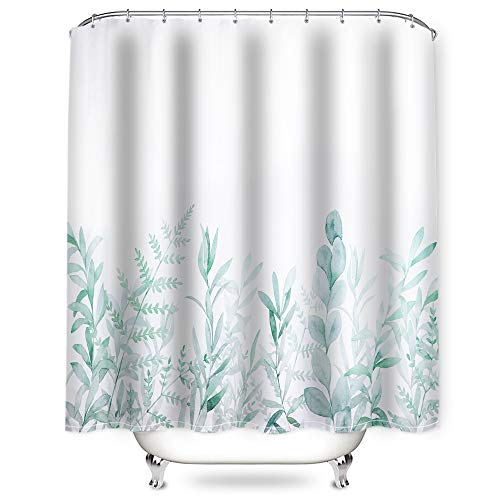 Litthing Duschvorhang 180x180 Anti-Schimmel & Wasserabweisend Shower Curtain mit 12 Duschvorhangringen 3D Digitaldruck Grüne Pflanze mit lebendigen Farben