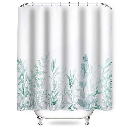 NIBESSER Duschvorhang 180x200 und 180x180 Duschvorhang-Anti-Schimmel-Wasserabweisend-Duschvorhangringen 12 Shower Curtain mit 3D Digitaldruck Grüne Pflanzen (Blumen3 180 * 180)
