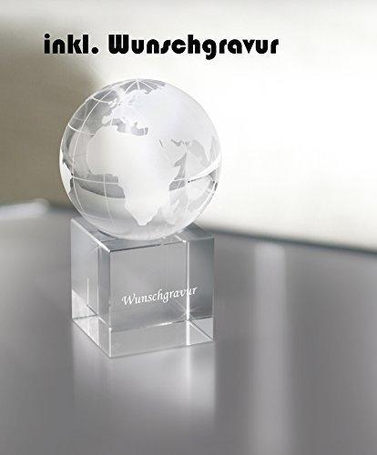 Briefbeschwerer Glas Weltkugel inkl. Gravur Wunschgravur GOLDALMING graviert