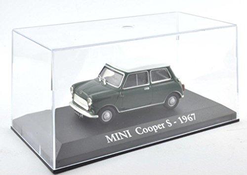 DieCast Metall Miniaturmodelle Modellauto 1:43 Oldtimer Klassiker Mini Cooper S Modell grün 1967 Altaya IXO inklusive Kunststoff Vitrine