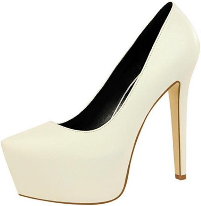 Gusha Women's Platform Tip Toe Closed Toe High Heel Pumps Stiletto Heels Dress