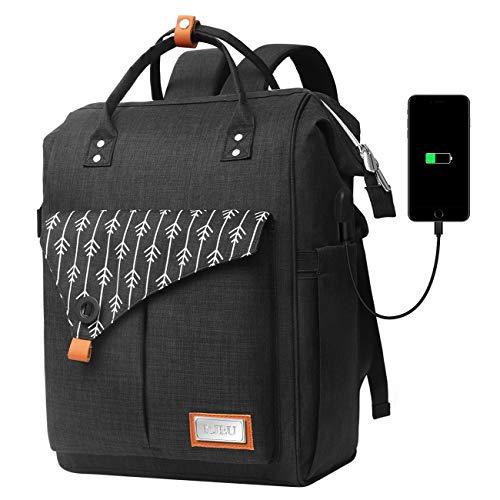 Rucksack Damen, Laptop Rucksack für 15.6 Zoll Laptop Schulrucksack mit USB Ladeanschluss für Arbeit Wandern Reisen Camping, für Mädchen, Oxford, 20-35L (H11-Black)