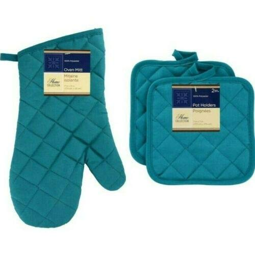 The Pecan Man Cotton 1 Oven MITT, 2 Pot Holders Everyday Kitchen Home Collection,Turquoise
