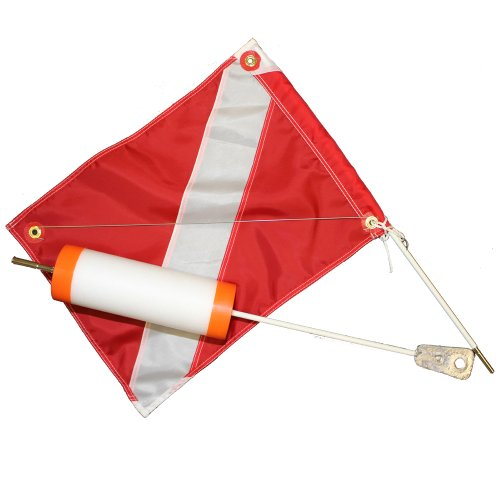 red flag with white diagonal stripe while boating