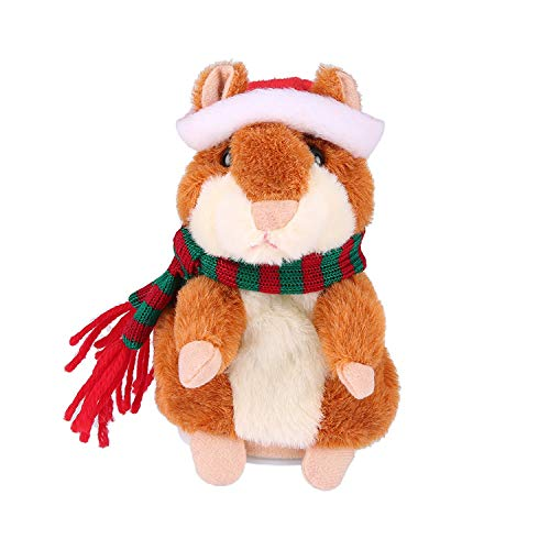 Qwifyu Talking Hamster, Interactive Stuffed Plush Animal Talking Toy Cute Sound Effects with Repeats Your Said Voice, Best Buddy for Kids Gift Age 3+ (Brown-Christmas)