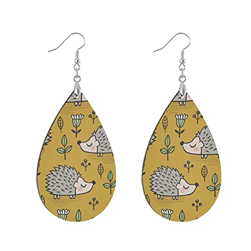 Pendientes de madera de moda gota colgantes ligeros lágrima pendientes forma gota pendiente para las mujeres joyería erizo con hojas y flores en amarillo mostaza