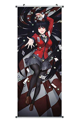 CoolChange Großes Kakegurui Rollbild | Kakemono aus Stoff | Poster 100x40cm | Motiv: Yumeko Jabami