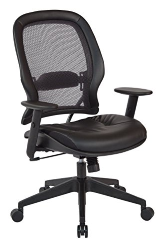 SPACE Seating AirGrid Back and Padded Bonded Leather Seat, 2-to-1 Synchro Tilt Control, Adjustable Arms, Nylong Base Adjustable High Back Managers Chair, Black