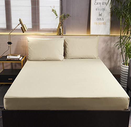 XLMHZP Topper viscoelastico,Protector de colchón de Color sólido con Cubierta de colchón Impermeable elástica Blanca/Negra Cojín Protector de sábana Ajustable para bebé-C_180x200cm+30cm