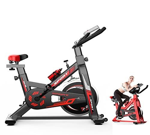 YTREDF Bicicleta Spinning Estática con Volante de Inercia, Bicicleta de Ciclo silenciosa con transmisión por Correa con Manillar y Asiento Ajustables, Bicicleta Fitness hasta 150 Kg